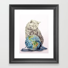 In which our feline deity shows restraint  Framed Art Print