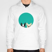 french Hoodies featuring Boston Terrier & French Bulldog 2 by Anne Was Here