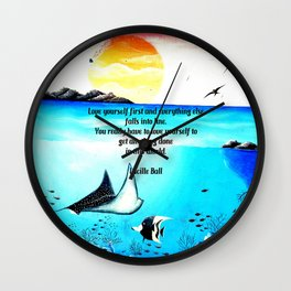 Love Yourself First Inspirational Quote With Underwater Scene Painting Wall Clock