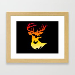 Deer Sun Framed Art Print