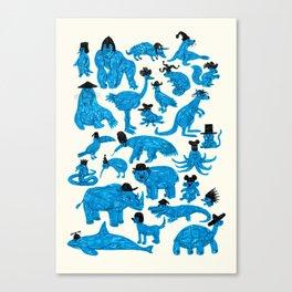 Blue Animals Black Hats Canvas Print