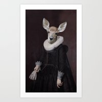 Portrait of an unknown deer  Art Print