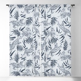 Tigers and Bamboo Leaves in Navy Blue Blackout Curtain