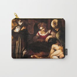 """Michelangelo Merisi da Caravaggio """"Nativity with Saints Lawrence and Francis"""" Carry-All Pouch"""
