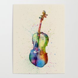 Cello Abstract Watercolor Poster