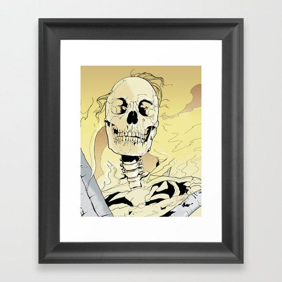 Skeleton on Fire Framed Art Print