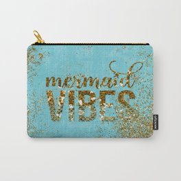 Mermaid Vibes - Gold Glitter On Teal Carry-All Pouch