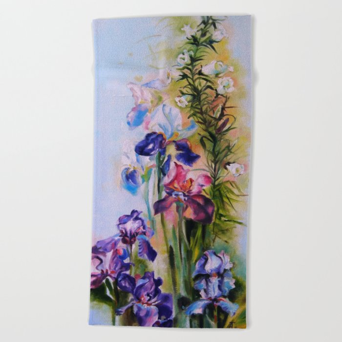 Irises Beach Towel