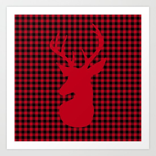 Red Plaid Deer Stag Design Art Print