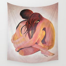 Intimate Couple Hugging and Staying In Touch Wall Tapestry