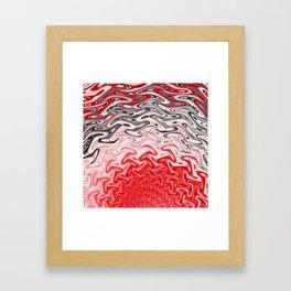 Fractal Rise in Red Black and White Framed Art Print