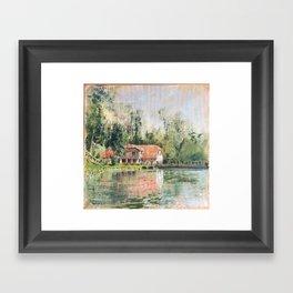 Aizpute Landscape near river Framed Art Print
