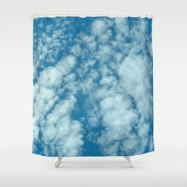 Fluffy clouds in a blue sky Shower Curtain