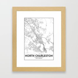 Minimal City Maps - Map Of North Charleston, South Carolina, United States Framed Art Print