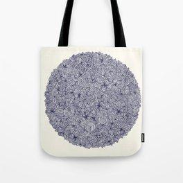 Held Together - a pattern of navy blue doodles Tote Bag