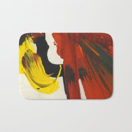 Face on Yellow Crying Red Bath Mat
