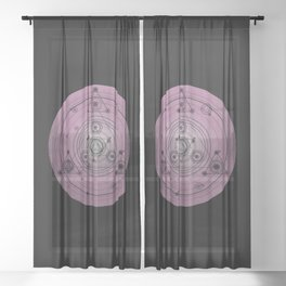 Pink mandala with alchemy symbols and distressed wiccan design Sheer Curtain