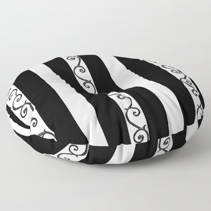 Stripes and Thorny Vines by Dark Decors - Black and Whites Floor Pillow