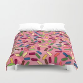 Pink Donut Glaze with Sprinkles Duvet Cover