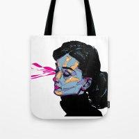 hepburn Tote Bags featuring A. Hepburn by philip painter