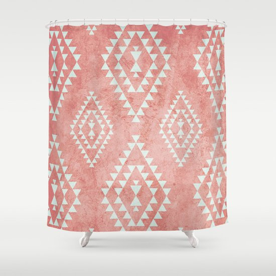 Mint Amp Coral Tribal Pattern 2 Shower Curtain By Dani