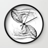 ink Wall Clocks featuring Medusozoa by Edward Blake Edwards