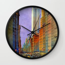 Fifth Avenue, New York - Vintage Poster Wall Clock