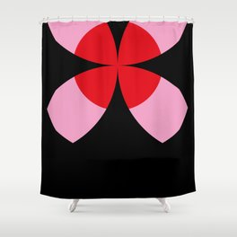 Four-Leaf-Clover Fissure, showing a Red Sun in a Pink Sky. Beautiful sunset. Shower Curtain