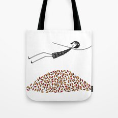 Eloise jumps in a pile of leaves Tote Bag