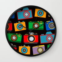 cameras Wall Clocks featuring colourful cameras by vitamin