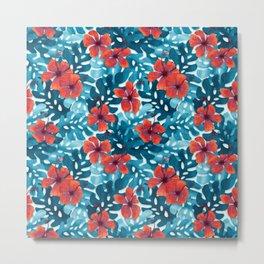 Tropical Hibiscus Pattern Red Metal Print