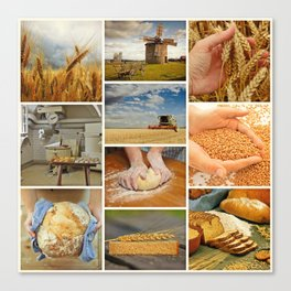 Wheat Bread Collage - Restaurant or Kitchen Decor Canvas Print