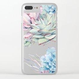 Pretty Pastel Succulents Garden 2 Clear iPhone Case