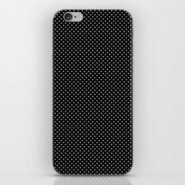 Classic White Polka Dot Hearts on Black Background iPhone Skin