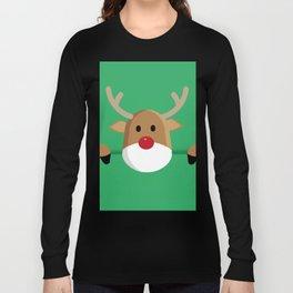 Peaking Reindeer in Green (Color) Long Sleeve T-shirt