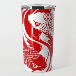 Red and White Yin Yang Koi Fish Travel Mug