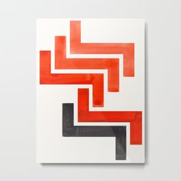 Red Orange Ancient Aztec Pattern Mid-century Modern Simple Geometric Pattern Watercolor Minimalist A Metal Print