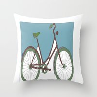 bicycle Throw Pillows featuring Bicycle by March Hunger