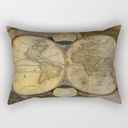 """Vintage paper & Maps (burlap texture)"" Rectangular Pillow"