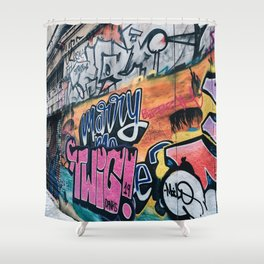 Side Walk Graffiti Street Art Shower Curtain