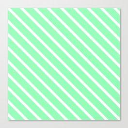 Mint Diagonal Stripes Canvas Print