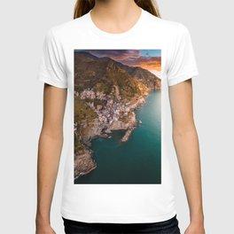 Aerial above Cinque Terre, Italy T-shirt
