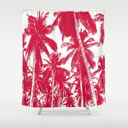 Palm Trees Design in Red and White Shower Curtain