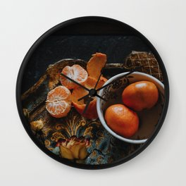Still Life with Coffee and Clementines V Wall Clock