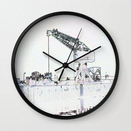 Canal Port Crane Drawing Wall Clock
