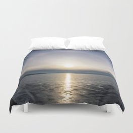 Halo over ice of lake Baikal Duvet Cover