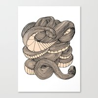 snake Canvas Prints featuring Snake  by AW Illustrations