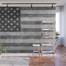 Stars and Sripes in retro style grayscale Wall Mural