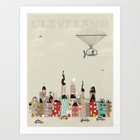 cleveland Art Prints featuring visit cleveland ohio by bri.buckley