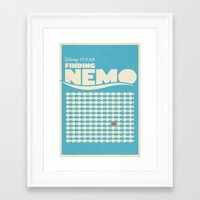 movie poster Framed Art Prints featuring Finding Nemo Movie Poster by RoarsAdams